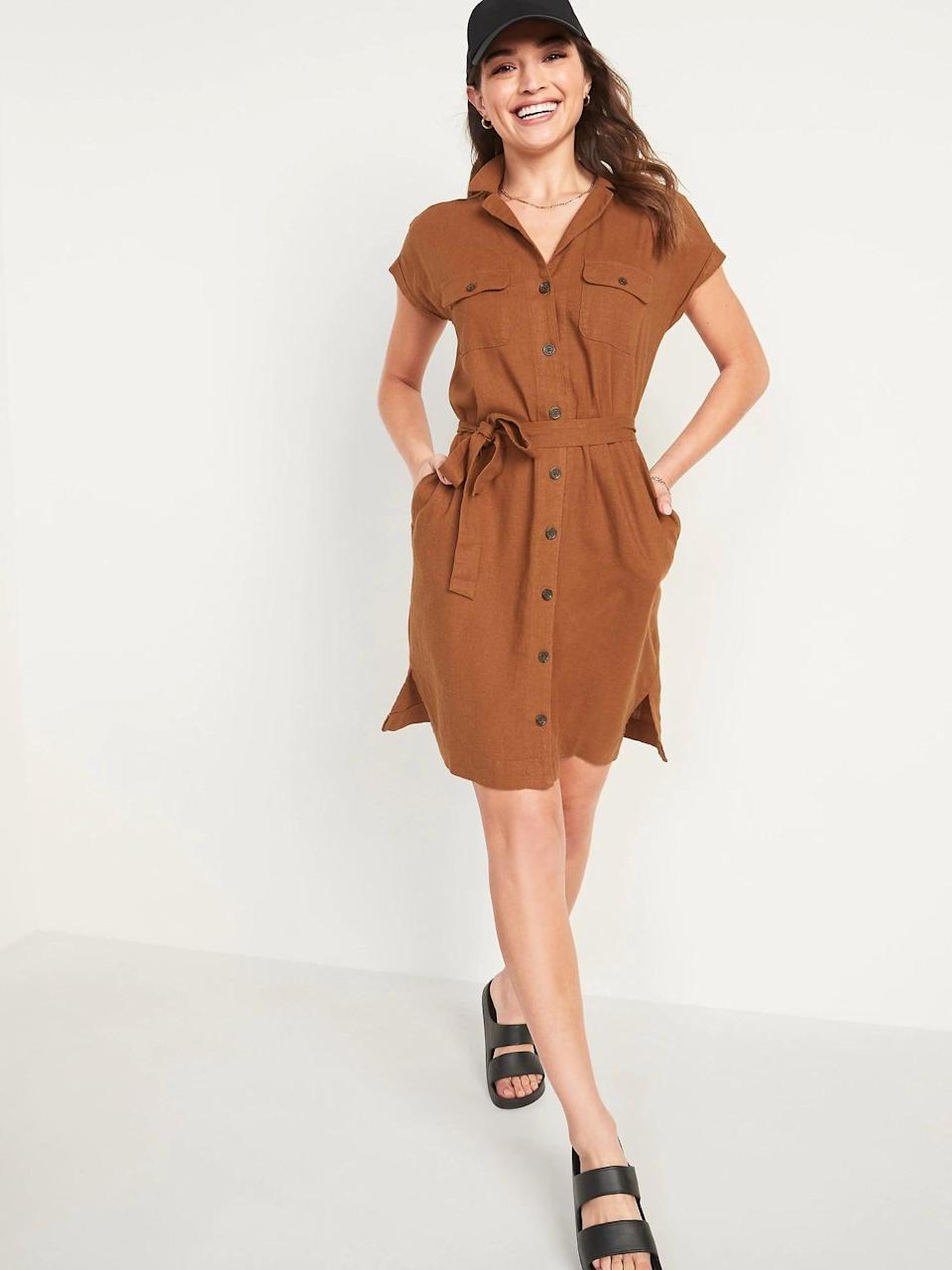 <p>This <span>Old Navy Waist-Defined Linen-Blend Tie-Belt Shirt Dress</span> ($40) looks just as good on virtual meetings as it would when you return to the office. </p>