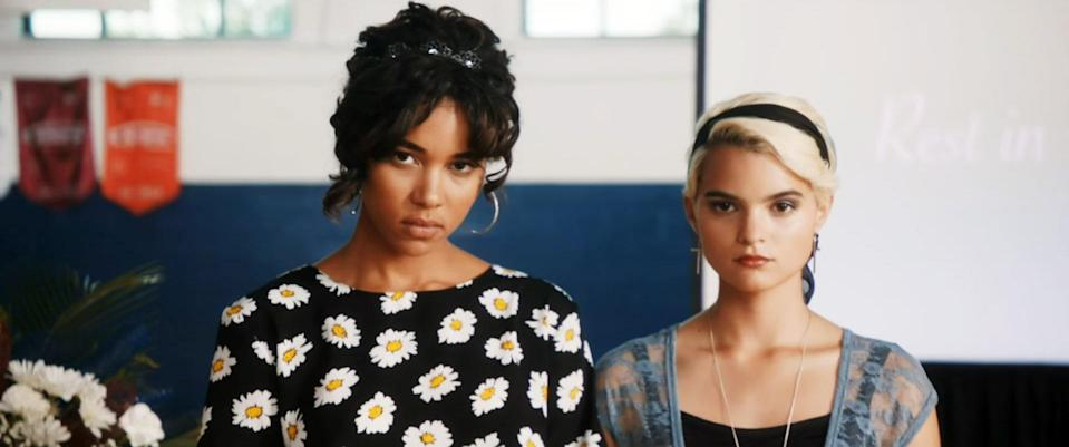 """<p>If you like the dark humor of <em>Heathers</em> and don't mind a little gore, I highly recommend <em>Tragedy Girls</em>. This comedy-horror movie stars Alexandra Shipp and Brianna Hildebrand as two high school seniors who run a true crime blog. When a serial killer starts stalking their small Midwestern town, they decide to use him as the fall guy while they commit the murders themselves in order to gain more followers. </p> <p><a href=""""https://www.hulu.com/movie/tragedy-girls-5ae9d464-1072-4896-8f22-9de6671bb4b9"""" rel=""""nofollow noopener"""" target=""""_blank"""" data-ylk=""""slk:Available to stream on Hulu"""" class=""""link rapid-noclick-resp""""><em>Available to stream on Hulu</em></a></p>"""
