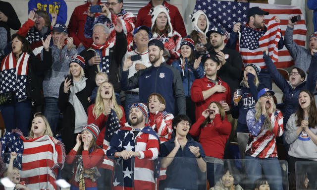 United States's fans cheer their team skip during the men's final curling match against Sweden at the 2018 Winter Olympics in Gangneung, South Korea, Saturday, Feb. 24, 2018. (AP Photo/Natacha Pisarenko)