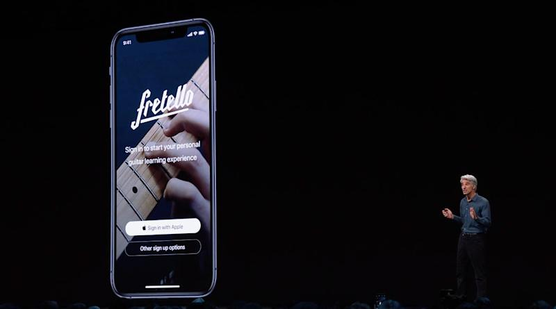 Apple Senior Vice President of Software Engineering Craig Federighi annoucned Sign-in with Apple on Monday at WWDC in San Jose, California. Source: Apple