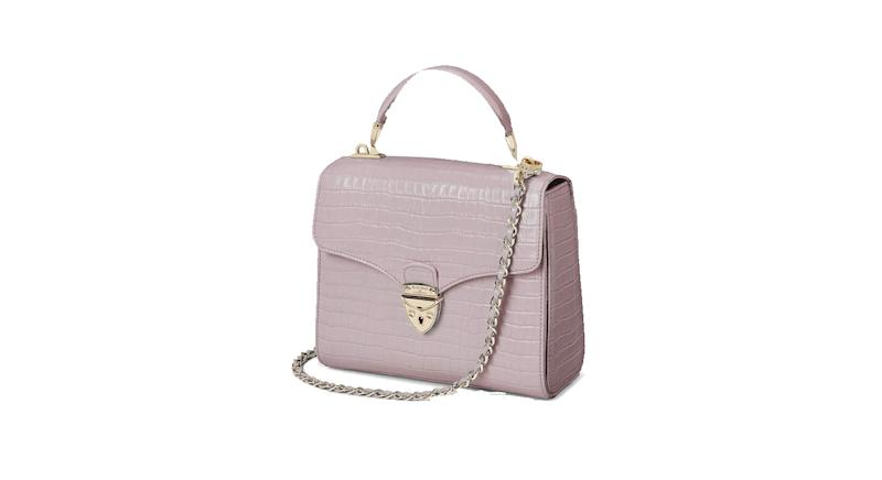 Midi Mayfair Bag in Deep Shine Lilac Small Croc