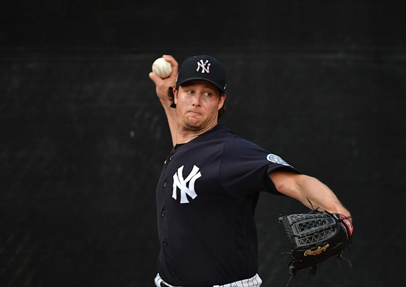 TAMPA, FLORIDA - FEBRUARY 24: Gerrit Cole #45 of the New York Yankees warms up in the bullpen before the spring training game against the Pittsburgh Pirates at Steinbrenner Field on February 24, 2020 in Tampa, Florida. (Photo by Mark Brown/Getty Images)