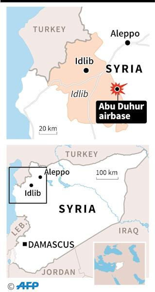 Maps of Syria and Idlib province locating Abu Duhur airbase (AFP Photo/)