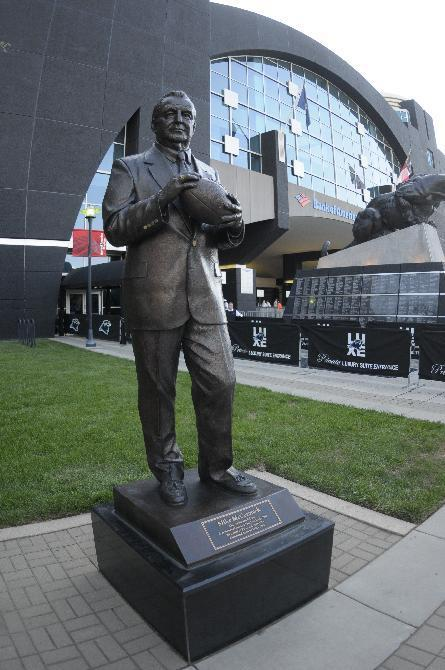 A statue of former Carolina Panthers' general manager Mike McCormack is shown at Bank of America Stadium during a preseason NFL football game in Charlotte, N.C., Saturday, Aug. 29, 2009. (AP Photo/Mike McCarn)