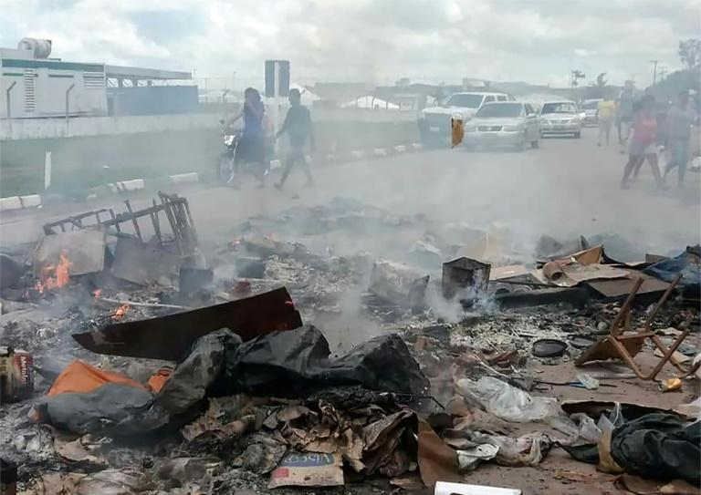 The remains of a Venezuelan immigrant camp burned by residents of the Brazilian border town of Pacaraima on August 18, 2018