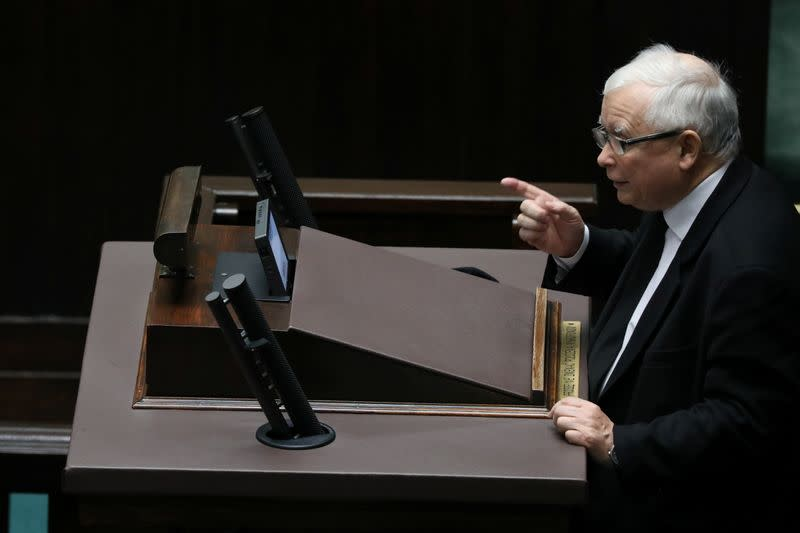 Law and Justice leader Kaczynski attends a parliament session in Warsaw