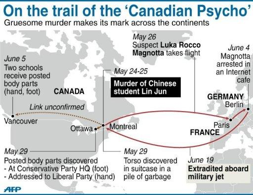 Graphic showing key locations on the trail of Luka Rocca Magnotta, accused of slaying and dismembering a Chinese student in Montreal last month