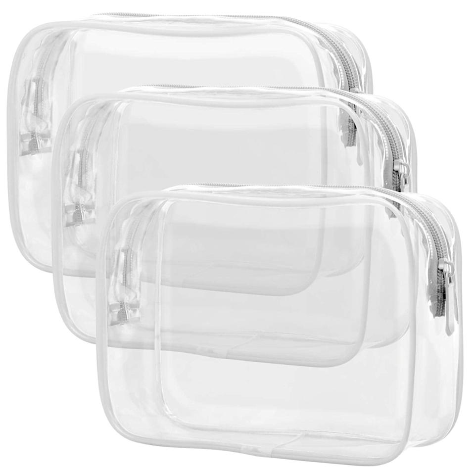 """<h2>Amazon Clear Makeup Bags</h2><br>In May, readers began to safely dip their toes once again into the pool of savvy travel accessories. One of our viral and top-shopped Amazon buys of the month was this three-pack of <a href=""""https://www.refinery29.com/en-us/clear-makeup-bags"""" rel=""""nofollow noopener"""" target=""""_blank"""" data-ylk=""""slk:clear makeup bags"""" class=""""link rapid-noclick-resp"""">clear makeup bags</a>; clocking in at a very digestible $9.99 price point with a TSA-approval stamp from over 3,000 reviewers spanning the likes of international travelers to flight attendants. <br><br><em>Shop <strong><a href=""""https://amzn.to/3ih1XrB"""" rel=""""nofollow noopener"""" target=""""_blank"""" data-ylk=""""slk:Amazon"""" class=""""link rapid-noclick-resp"""">Amazon</a></strong></em><br><br><strong>Packism</strong> Clear Toiletry Bag, 3 Pack TSA Approved, $, available at <a href=""""https://amzn.to/3wglrjW"""" rel=""""nofollow noopener"""" target=""""_blank"""" data-ylk=""""slk:Amazon"""" class=""""link rapid-noclick-resp"""">Amazon</a>"""