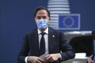 Dutch Prime Minister Mark Rutte arrives for an EU summit at the European Council building in Brussels, Thursday, Dec. 10, 2020. European Union leaders meet for a year-end summit that will address anything from climate, sanctions against Turkey to budget and virus recovery plans. Brexit will be discussed on the sidelines. (Yves Herman, Pool via AP)