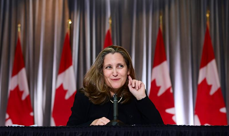 Minister of Finance Chrystia Freeland holds a news conference on the second day of the Liberal cabinet retreat in Ottawa on Sept. 15, 2020. (Photo: CP/Sean Kilpatrick)