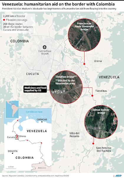 Close-up map showing the Colombia-Venezuela border, main crossings, and concerts planned (AFP Photo/Nicolas RAMALLO)