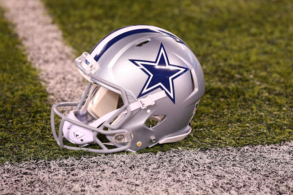 EAST RUTHERFORD, NJ - NOVEMBER 04:  Dallas Cowboys helmet on the field prior to the National Football League game between the New York Giants and the Dallas Cowboys on November 4, 2019 at MetLife Stadium in East Rutherford, NJ.   (Photo by Rich Graes fourthsle/Icon Sportswire via Getty Images)