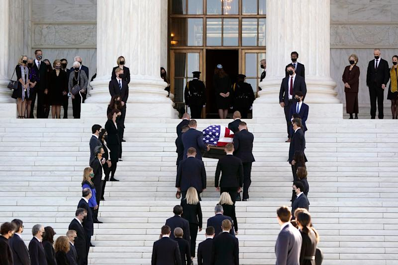 The flag-draped casket of Justice Ruth Bader Ginsburg arrives at the Supreme Court in Washington, Wednesday, Sept. 23, 2020. Ginsburg, 87, died of cancer on Sept. 18. (AP Photo/J. Scott Applewhite) ORG XMIT: DCSA213