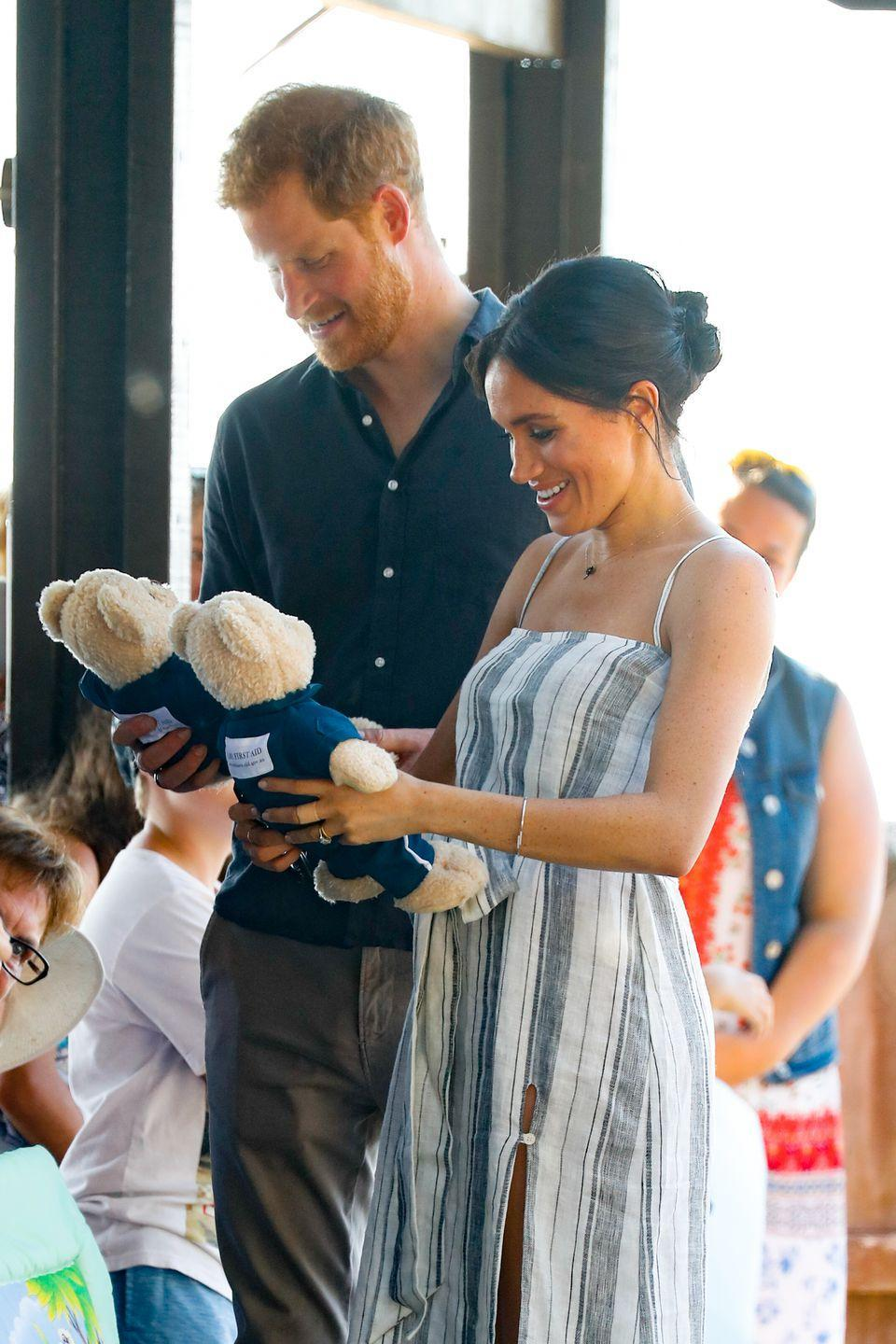 <p>While visiting Fraser Island, they were also gifted with some teddy bears. This baby is going to have so much stuff.</p>