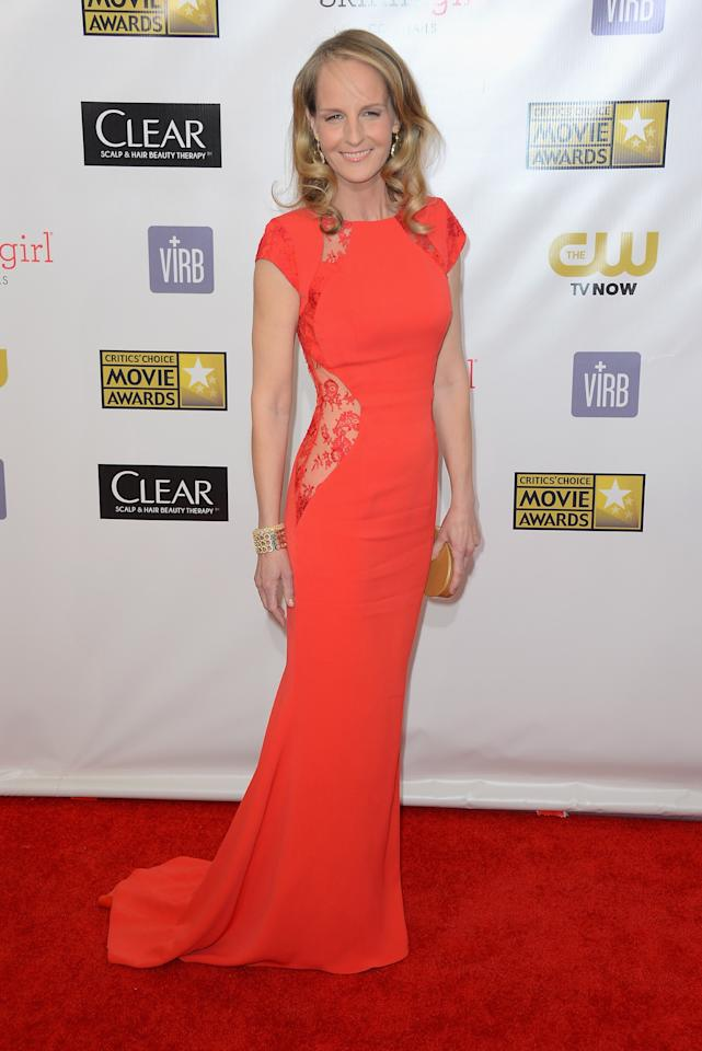 SANTA MONICA, CA - JANUARY 10:  Actress Helen Hunt arrives at the 18th Annual Critics' Choice Movie Awards at Barker Hangar on January 10, 2013 in Santa Monica, California.  (Photo by Frazer Harrison/Getty Images)