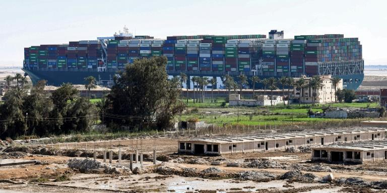 The giant container ship MV Ever Given pictured on March 29, the day it was dislodged after being diagonally stuck in the Suez Canal for nearly a week