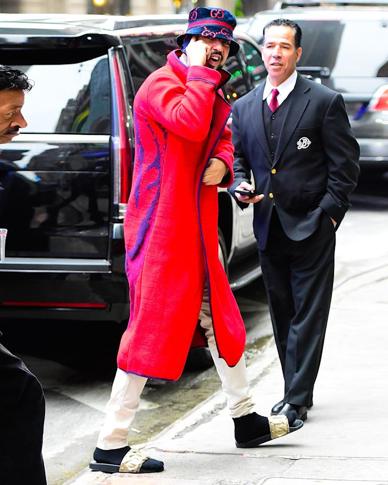 The moment we called French Montana to congratulate him on his # bigfitoftheday. Extra points for the Versace slides!