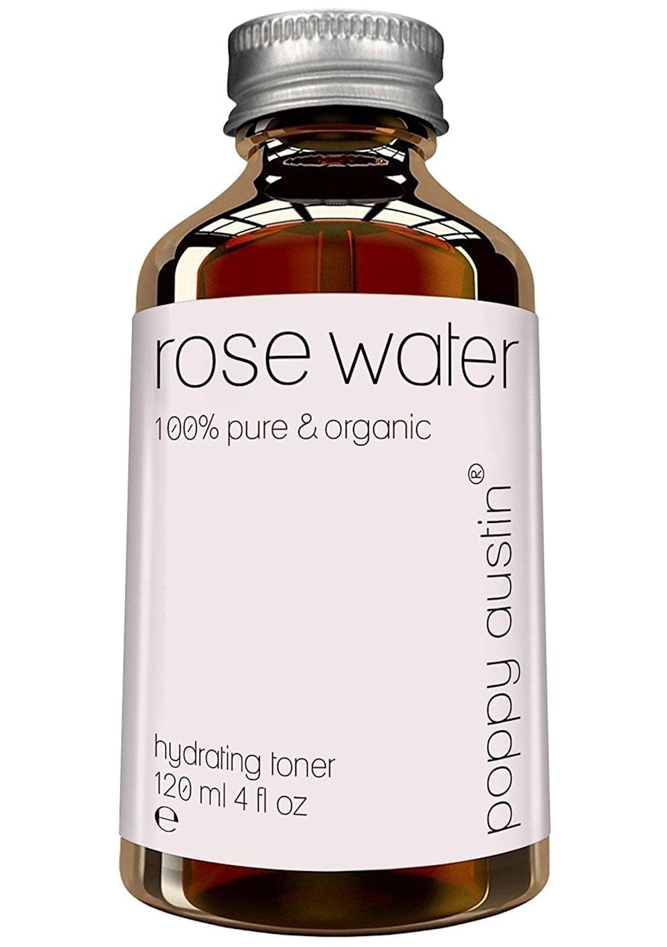 <p>This <span>Poppy Austin Rose Water</span> ($19) is 100 percent Moroccan rose water. It works as a lightweight toner that provides hydration, calms inflammation, and brings back radiance to tired-looking skin.</p>