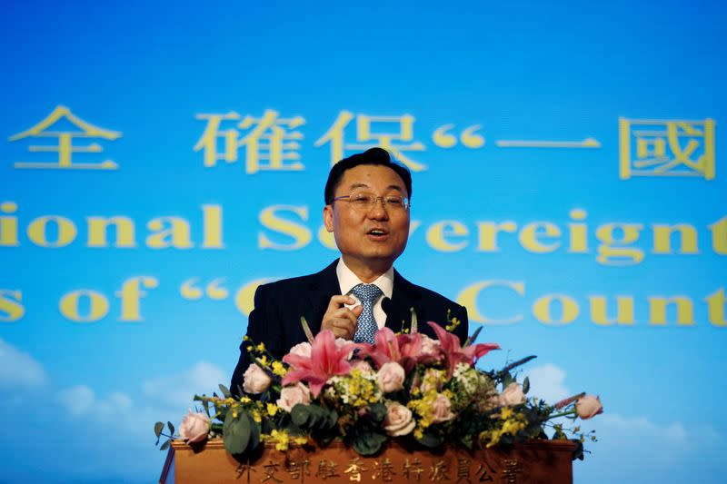 Xie Feng, commissioner of China's Ministry of Foreign Affairs in Hong Kong, holds a briefing on the proposed national security legislation in Hong Kong