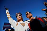 Drag queen Elona Musk attends with his partner a demonstration against the latest anti-LGBTQ law in Budapest