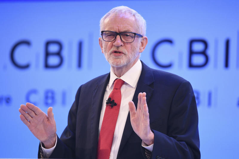 Labour leader Jeremy Corbyn speaks at the Confederation of British Industry (CBI) annual conference at the InterContinental Hotel in London, Monday, Nov. 18, 2019. The leaders of Britain's three biggest national political parties were making election pitches Monday to business leaders who are skeptical of politicians' promises after years of economic uncertainty over Brexit. (Stefan Rousseau/PA via AP)