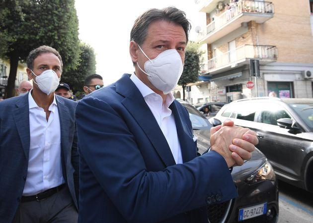 NAPLES, ITALY - SEPTEMBER 26: Former PM And M5S Leader Giuseppe Conte visiting Melito di Napoli with mayoral candidate Dominique Pellecchia on September 26, 2021 in Naples, Italy. (Photo by Ciro Sarpa/Getty Images ) (Photo: Ciro Sarpa via Getty Images)