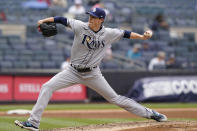 Tampa Bay Rays starting pitcher Ryan Yarbrough winds up during the sixth inning of a baseball game against the New York Yankees, Thursday, June 3, 2021, at Yankee Stadium in New York. (AP Photo/Kathy Willens)