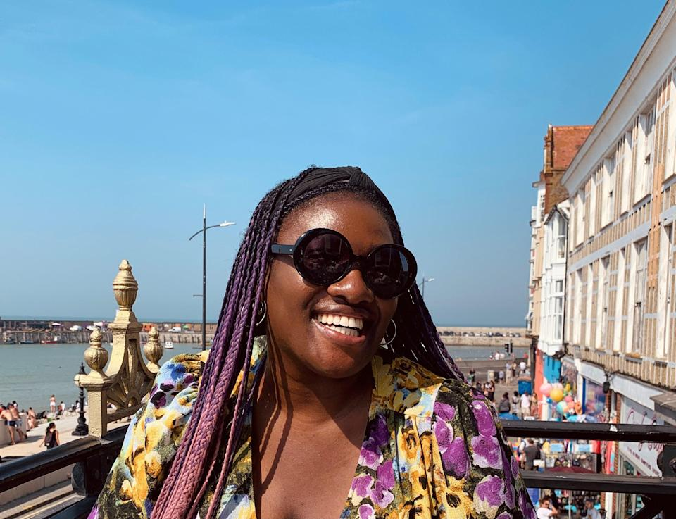 """<h2>Yero Timi-Biu, 28, moved from Hackney in London to Margate in April 2019</h2><br>I moved on Easter Sunday 2019, a very hot day. Thousands of people were on the beach. It looked like paradise.<br><br>My only connection to the town was that my uncle, who is a doctor, had a rotation in the district's only hospital decades ago. He said the signal was rubbish. It is. I made the decision to leave my bubble of London where friends and family lived in order to seek a slower pace of life in a coastal town. I told myself I'd be here for a couple of years – call it an extended holiday. I really like being near water (pre-pandemic, I was enjoying the Californian life). I made the move to Margate as a UK base for better financial security too. I'd left a permanent full-time position in film development the month before in order to focus on my writing commitments. I knew Margate could be home without too many distractions. And the cost of living was much lower. I didn't have to worry about how I was going to pay my bills in between chasing my agent for invoice payments from commissions.<br><br>According to the census from 2011, the town is 0.5% Black. I am Black, 5'10 and at one point had purple, black and pink braids. I stand out. During my first year here, one woman came up to me and was like, """"You've been here almost a year now! How're you finding it?"""" I remember being so slack-jawed with my groceries because I'd never seen her before in my life.<br><br>I got lucky with new connections. My good friend Naomi was visiting from London, she invited me to a party of a schoolfriend at the end of my road. I met so many awesome people there, including one of my closest friends here called Grace. I guess you have to put yourself out there. People here are usually friendly. The town is really tiny so I made friends with like-minded people quickly. I've counted six taxi drivers say that they welcomed people 'down from London' because this town needed the gentrification.<br><br>I spea"""