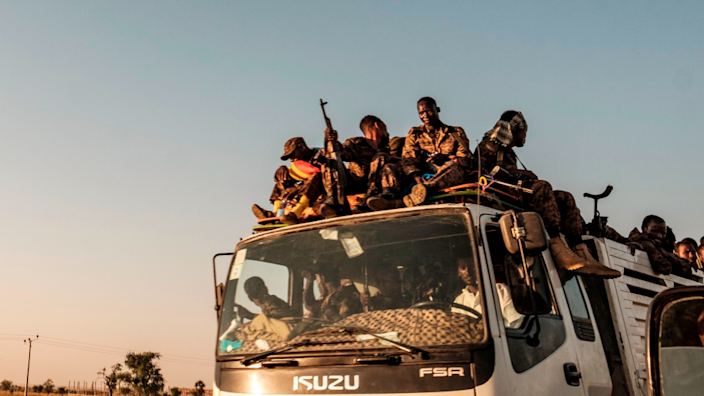 Ethiopian soldiers on the back of a lorry on a road near the city of Humera, Ethiopia - 21 November 2020