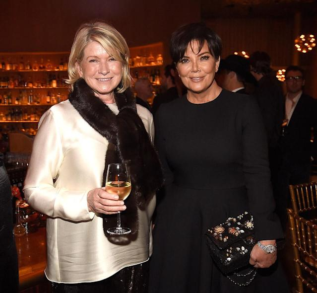 """<p>Boss ladies! These two powerhouse businesswomen also caught up at the Lagerfield event. If Kris would have kept the <a href=""""https://www.instagram.com/p/Bami2gpljqI/?taken-by=kimkardashian"""" rel=""""nofollow noopener"""" target=""""_blank"""" data-ylk=""""slk:blond hair"""" class=""""link rapid-noclick-resp"""">blond hair</a> she was sporting earlier Monday on Instagram, she and Martha could have passed for sisters. (Photo: Kevin Mazur/Getty Images for <em>V</em> <em>Magazine</em>) </p>"""