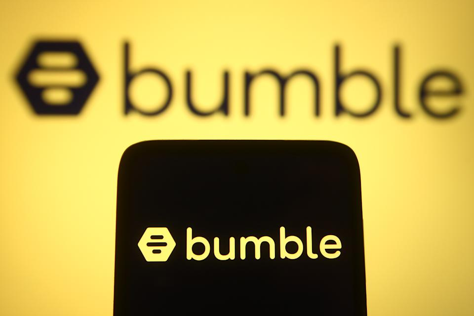 UKRAINE - 2021/04/11: In this photo illustration the Bumble logo of an US social media company is seen on a smartphone and a pc screen. (Photo Illustration by Pavlo Gonchar/SOPA Images/LightRocket via Getty Images)