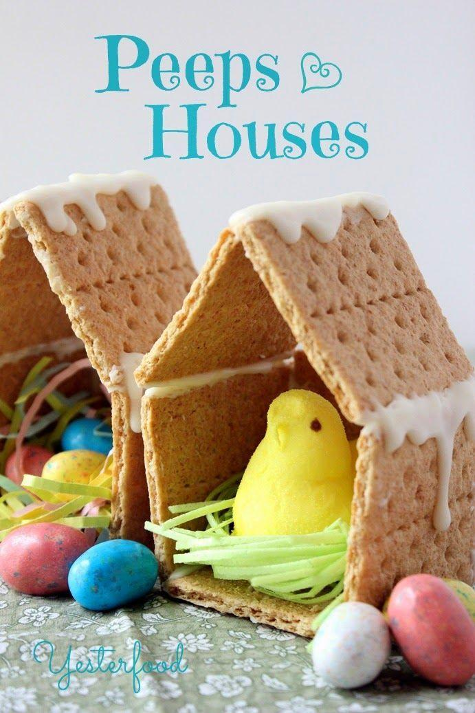 """<p>Who says gingerbread houses were just for Christmas?! Use graham crackers and icing to make these tiny houses for your Peeps. </p><p><strong>Get the tutorial at <a href=""""http://yesterfood.blogspot.com/2014/04/peeps-houses.html"""" rel=""""nofollow noopener"""" target=""""_blank"""" data-ylk=""""slk:Yesterfood"""" class=""""link rapid-noclick-resp"""">Yesterfood</a>.</strong></p>"""