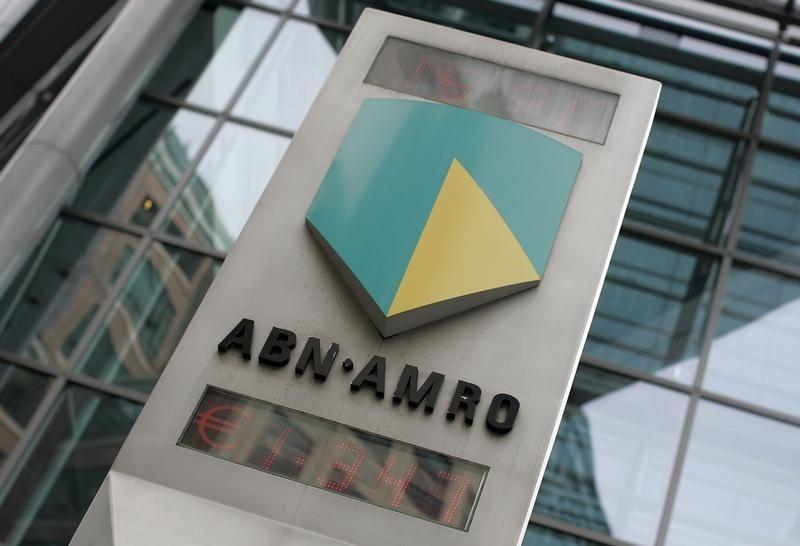 The ABN Amro logo is seen in central London