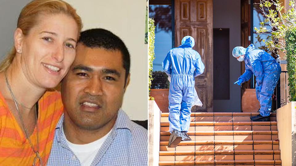 Seen here, Toutai Kefu with his wife Rachel and forensic officers examining the crime scene at their home.