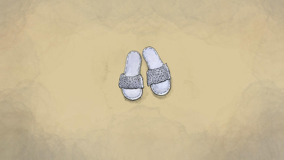 An illustration made from a photo of Yurancy Castillo's sandals provided by Mery Arroyo. (AP Illustration/Peter Hamlin)
