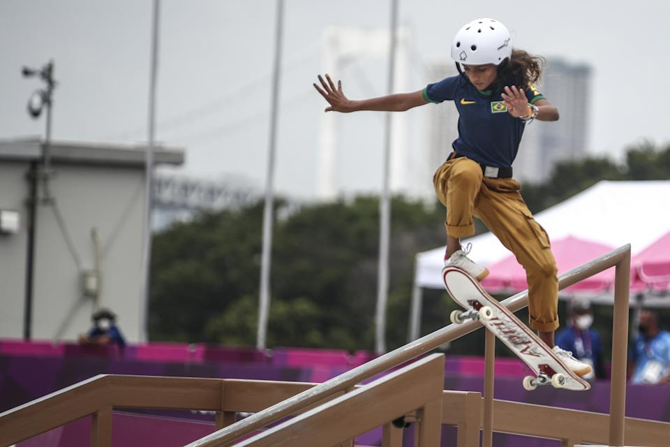 TOKYO, JAPAN - JULY 26: Rayssa Leal of Brazil competes in women's street skateboard during the Tokyo 2020 Olympic Games in Tokyo, Japan on July 26, 2021. (Photo by Dimitris Isevidis/Anadolu Agency via Getty Images)