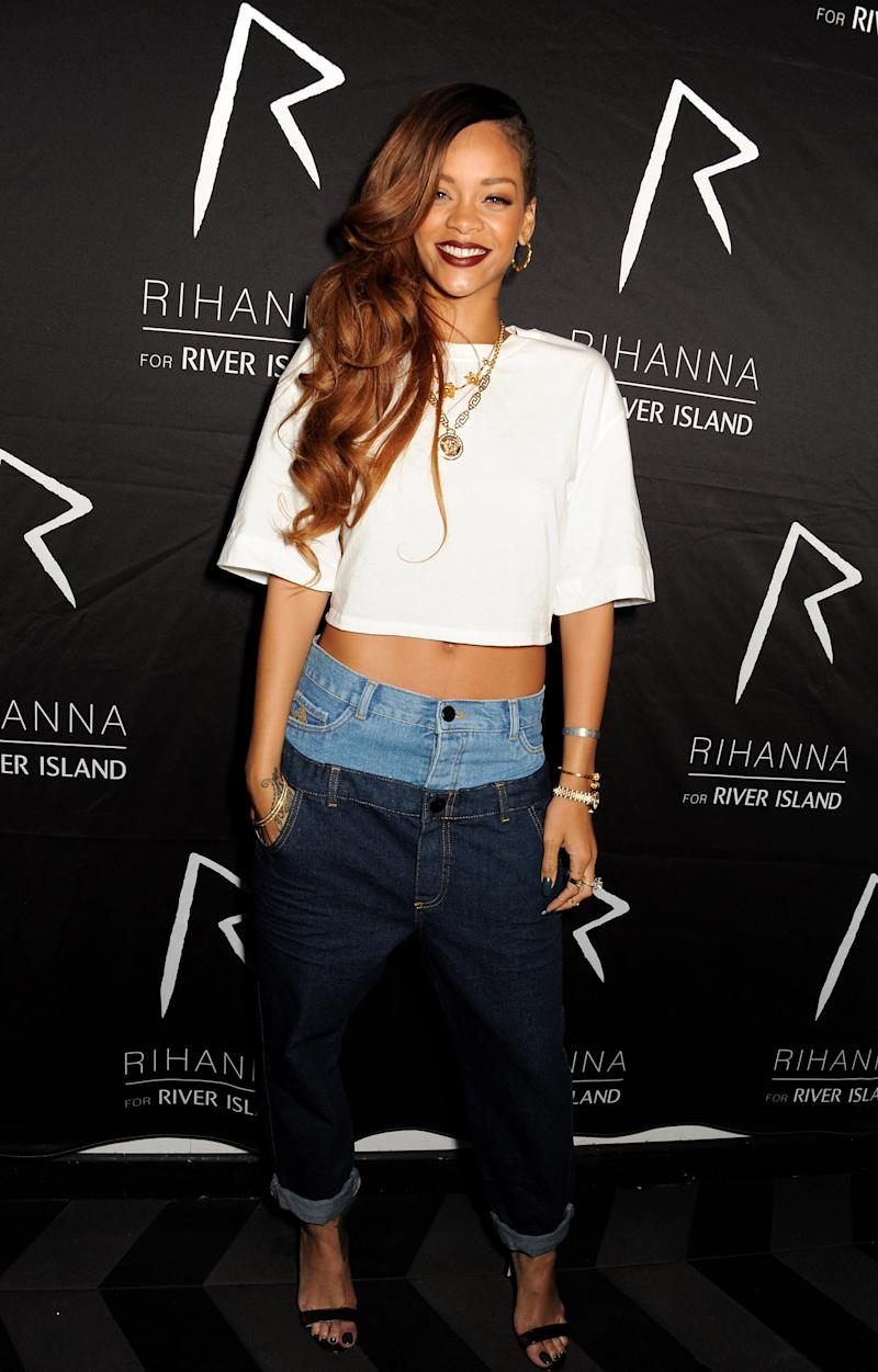 LONDON, ENGLAND - MARCH 04: (EMBARGOED FOR PUBLICATION IN UK TABLOID NEWSPAPERS UNTIL 48 HOURS AFTER CREATE DATE AND TIME. MANDATORY CREDIT PHOTO BY DAVE M. BENETT/GETTY IMAGES REQUIRED) Rihanna attends the exclusive after party following the launch of her Rihanna For River Island collection at DSTRKT on March 4, 2013 in London, England. (Photo by Dave M. Benett/Getty Images)