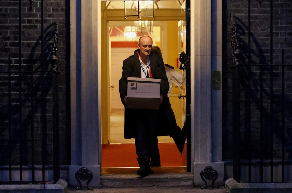 Dominic Cummings leaving Downing Street holding a box. (Reuters/Henry Nicholls)
