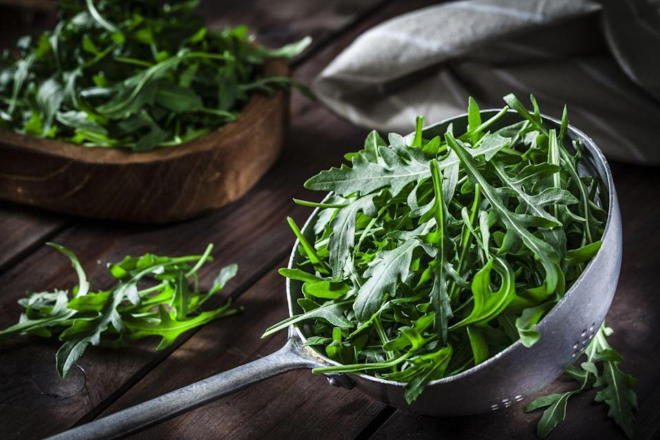 """<p>Add a bite to any salad with fresh arugula, which has a peppery taste that makes it a unique green. Registered dietitian nutritionist Jamie Nadeau says, """"It's a member of the cruciferous vegetable family, which means not only is it rich in vitamins and minerals, but it's high in phytonutrients that may reduce cancer risk and lower inflammation in the body."""" </p>"""