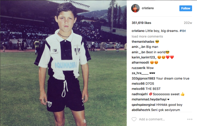 "<p>Uno de sus primeros ""Throw Back Thursdays"".<br>Foto: Instagram – @cristiano </p>"