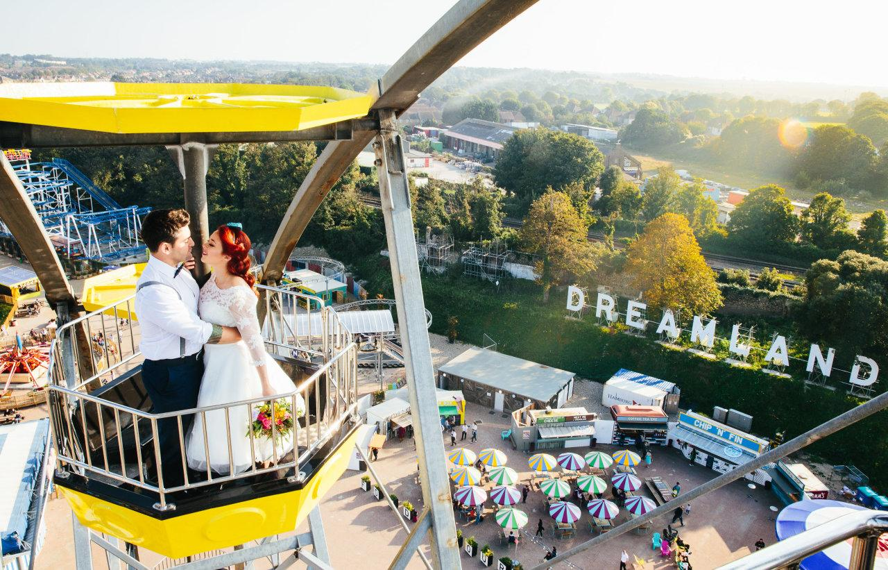 "<p>How to keep guests entertained at a wedding? Take them to a vintage theme park, of course. <a href=""https://www.dreamland.co.uk/events/weddings"">Dreamland</a> in Margate has weddings from £8,000 for up to 70 people. Get married in the beautifully restored grade-II listed ballroom, have drinks in the VIP beach huts - and top it off with a blessing on a roller coaster. [Photo: Dreamland Margate]</p>"