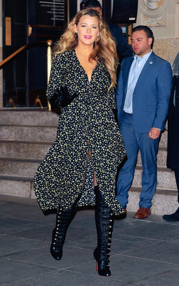 And later that night, the actress slipped into fishnet tights and a flowy button-down floral print dress for the premiere afterparty in Brooklyn. But she kept her accessories the same — who knew over-the-knee leather boots and opera gloves were so versatile?!