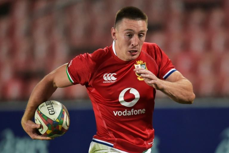 British and Irish Lions wing Josh Adams scores his third try against the Lions at Ellis Park in Johannesburg on Saturday.