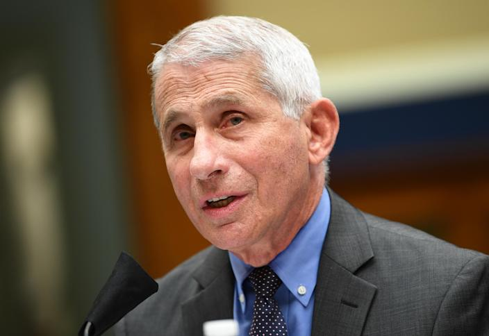 Dr. Anthony Fauci testifies on Capitol Hill on Tuesday. (Kevin Dietsch/Pool/AFP via Getty Images)