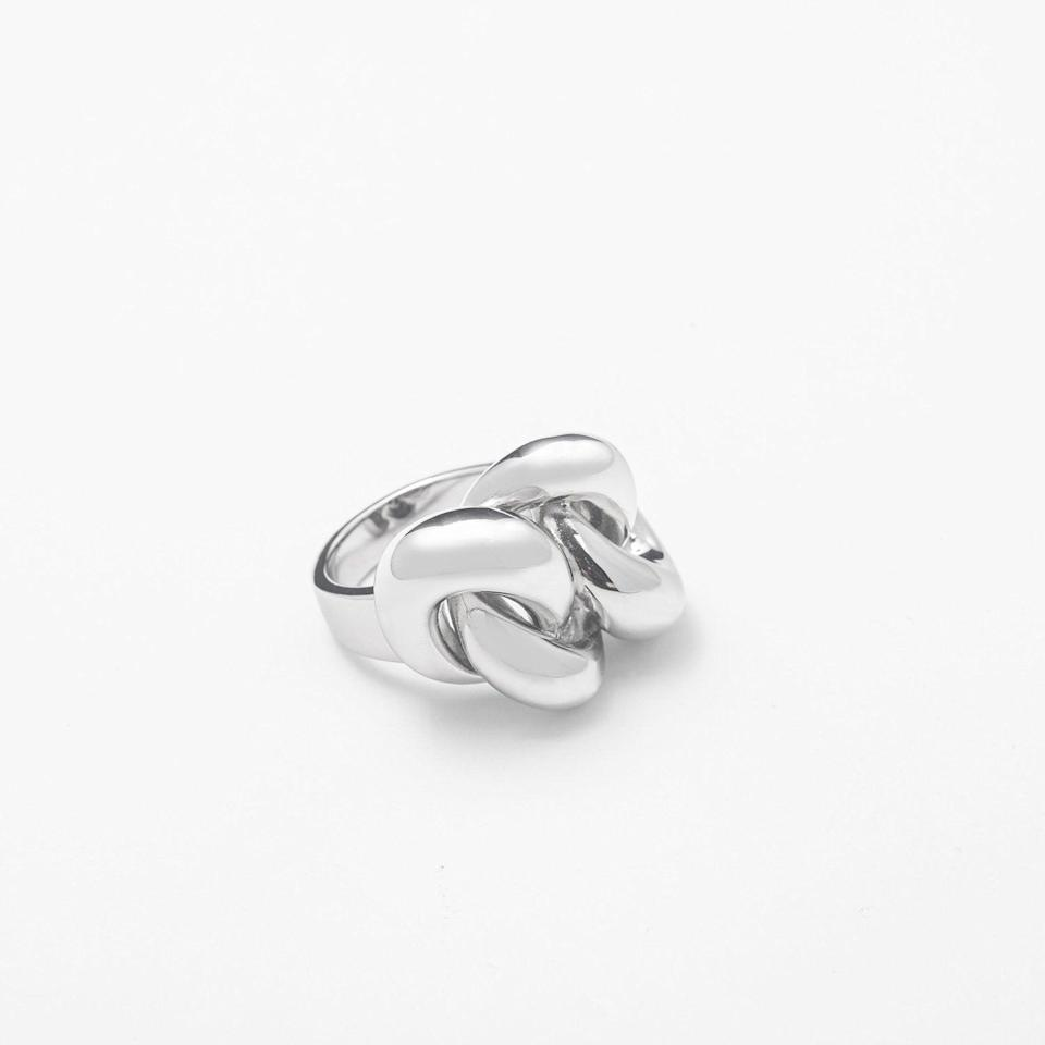 <p><span>Berna Peci Large Silver Solid Knot Ring</span> ($60)</p>
