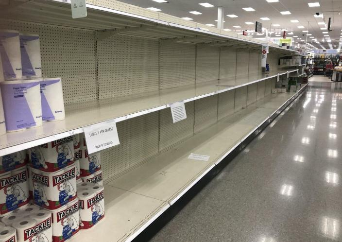 "<span class=""caption"">A Target in Sheridan, Colorado, was very low on paper towels in November 2020. </span> <span class=""attribution""><a class=""link rapid-noclick-resp"" href=""https://newsroom.ap.org/detail/VirusOutbreakColoradoShortages/844754977c8c4b00b15fe13b8333b07c/photo?Query=shortage%20AND%20store&mediaType=photo&sortBy=arrivaldatetime:desc&dateRange=Anytime&totalCount=174&currentItemNo=10"" rel=""nofollow noopener"" target=""_blank"" data-ylk=""slk:AP Photo/David Zalubowski"">AP Photo/David Zalubowski</a></span>"
