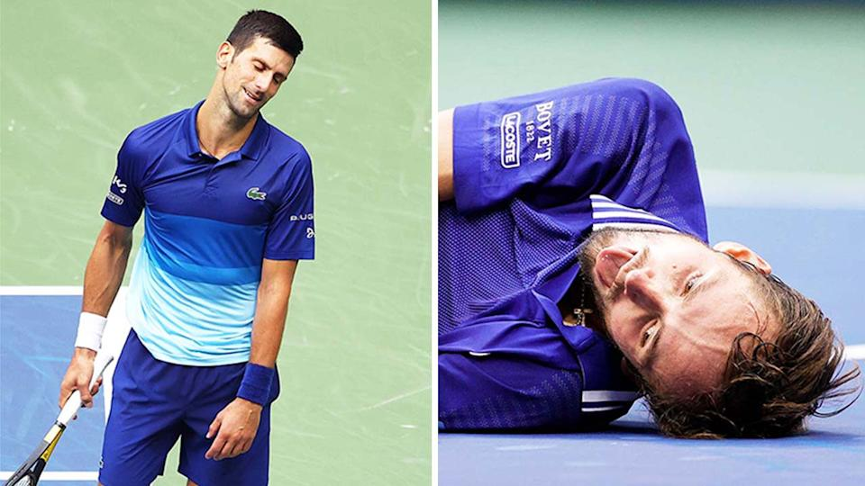 Daniil Medvedev (pictured right) falling to the ground after he defeated Novak Djokovic (pictured left) who looks disappointed in the US Open men's final.