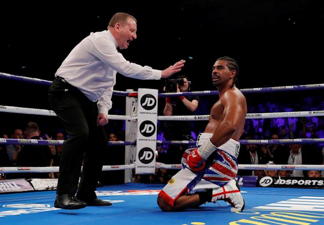FILE PHOTO: Boxing - Tony Bellew vs David Haye - O2 Arena, London, Britain - May 5, 2018 David Haye looks on as he is given a count by the referee Action Images via Reuters/Andrew Couldridge/File Photo
