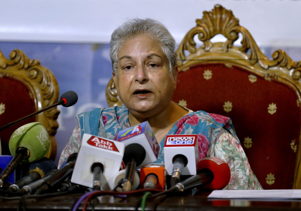 Hina Jilani, the head of the Human Rights Commission of Pakistan, gives a press conference in Islamabad, Pakistan, Tuesday, June 1, 2021. Jilani denounced the assault on Asad Ali Toor, the removal of Hamid Mir as a host of his TV show, and other attacks on journalists. (AP Photo/Anjum Naveed)