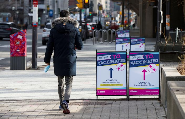 TORONTO, Jan. 18, 2021 -- A man arrives at a COVID-19 immunization clinic at the Metro Toronto Convention Center MTCC in Toronto, Ontario, Canada, on Jan. 18, 2021. Ontario's first proof-of-concept COVID-19 immunization clinic opened here on Monday to help develop a blueprint for how shots could be administered in non-medical settings. (Photo by Zou Zheng/Xinhua via Getty) (Xinhua/Zou Zheng via Getty Images)